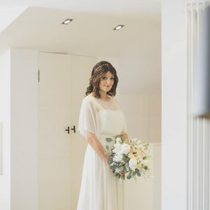 Bridal handtie of soft scented flowers with a blush of colour and silver foliages